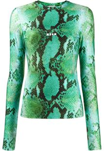 Msgm Snake Print Knitted Top - Verde
