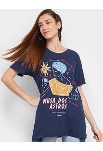 Camiseta Cantão Musa Dos Astros Manga Curta Feminina - Feminino-Marinho
