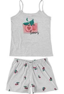 Pijama Feminino Curto Malwee 1000077208 40000-Cinz