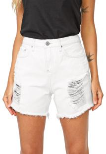 Bermuda Sarja Calvin Klein Jeans Reta Destroyed Branca
