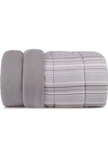 Edredom Listrado Malha In Cotton Casal- Cinza & Branco