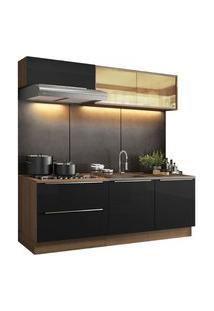 Cozinha Completa Madesa Lux Com Armário E Balcão 5 Portas 2 Gavetas Rustic/Preto Cor:Rustic/Preto