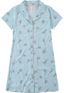 Camisola Azul Floral Em Algodão