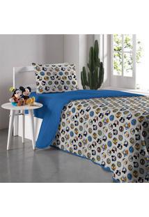 Edredom Solteiro Portallar Malha Dupla Face Disney Amigos Do Mickey Azul