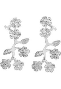 Brinco Floral Grande - Feminino-Prata