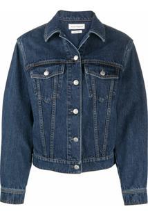 Alexander Mcqueen Jaqueta Jeans Com Listras Na Lateral - Azul