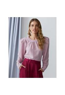 Amaro Feminino Blusa De Crepe Com Ombreiras, Rosa Escuro