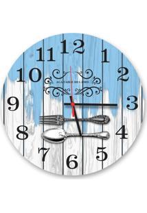 Relógio De Parede Decorativo Talheres Fundo Branco E Azul Pátina 35Cm Médio