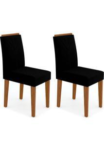 Conjunto Com 2 Cadeiras Amanda Ii Castanho E Preto