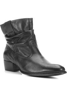 Bota Couro Shoestock Slouch Cano Curto Feminina - Feminino-Preto