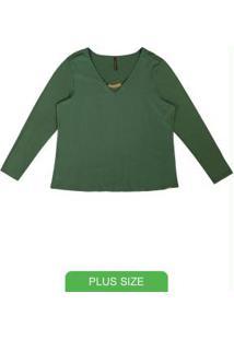 Blusa Com Decote V E Aviamento Verde