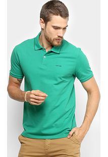 Camisa Polo Calvin Klein Slim Masculina - Masculino-Verde