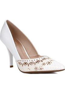 Sapato Scarpin Feminino Beira Rio Branco/Dourado