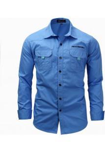 Camisa Masculina Casual Bolso Duplo Manga Longa - Azul