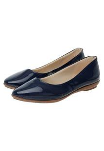 Sapatilha Feminina Verniz Bico Fino Leve Confortável Casual Azul 40 Azul
