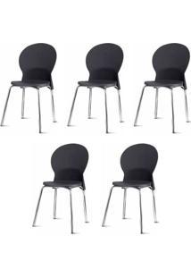 Kit 5 Cadeiras Luna Assento Preto Base Cromada - 57704 - Sun House