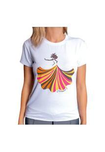 Blusa T-Shirt Camiseta Feminina Estampada - Bailarina - Branca