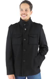Casaco Fiero Em Lã Premium Oregon Preto