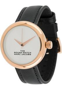 Marc Jacobs Watches Slogan Face Round Watch - Preto