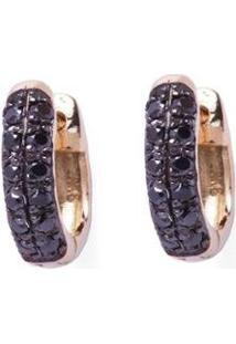 Brinco Argola Ouro 18K Lafry Diamantes Negros Clássico - Feminino-Ouro