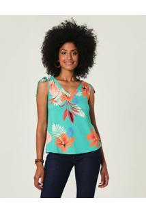 Blusa Floral Com Amarração Malwee Verde Água - G