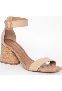 Sandália Com Cortiça- Nude & Marrom Claro- Salto: 8Cmorena Rosa