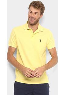 Camisa Polo Aleatory Piquet Bordado Masculina - Masculino-Amarelo