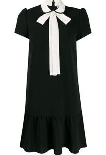 Redvalentino Vestido Com Laço No Colarinho - Preto