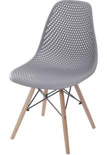 Cadeira Eames Furadinha Cor Cinza Com Base Madeira - 55984 Sun House