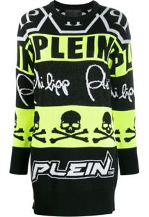 Philipp Plein Vestido De Tricô Neon - Preto