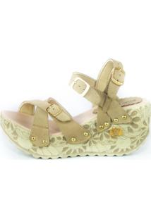 Sandalia Feminina Top Franca Shoes Plataforma Anabela Bege