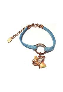 Pulseira Armazem Rr Bijoux Camurça Azul