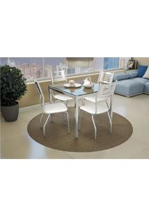 Conjunto De Mesa Com 4 Cadeiras Crome Cromado E Branco Kappesberg