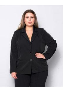 Blazer Plus Size Palank Two Way Basic Feminina - Feminino-Preto