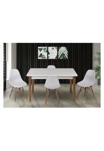 Conjunto Mesa De Jantar Luiza 135Cm Branca Com 4 Cadeiras Eames Eiffel - Branco