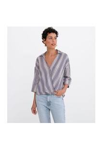 Camisa Decote V Manga Curta Transpassada Listrada | Marfinno | Azul | M