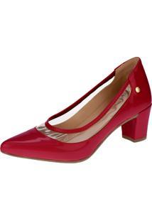 Sapato Scarpin Lu Fashion Cristal Transparente Vermelho