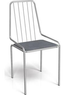 Cadeira De Jantar Benin Cromada E Cinza