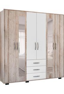 Guarda-Roupa Casal Com Espelho Málaga Plus 6 Pt Castanho