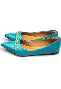 Sapatilha Love Shoes Bico Fino Confort Verniz Ilhós Strass Turquesa