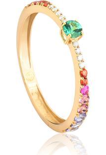 Anel De Ouro 18K Solitário Meia Aliança Com Diamantes E Mix De Gemas-Coleção Paradis
