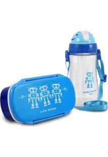 Conjunto Pote Para Lanche E Squeeze Infantil Menino Robo Jacki Design Sapeka Azul - Kanui