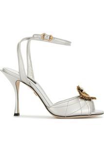 Dolce & Gabbana Sandália Devotion Com Salto 90Mm - Prateado