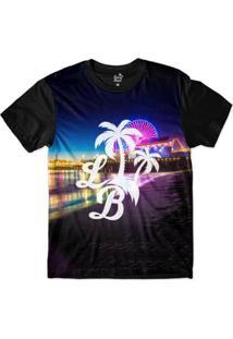 Camiseta Long Beach Lb Santa Monica Sublimada Masculina - Masculino-Roxo+Preto