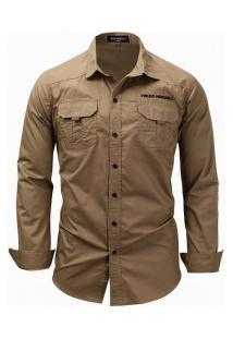 Camisa Masculina Casual Bolso Duplo Manga Longa - Cáqui