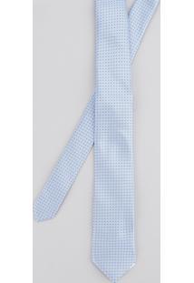 Gravata Em Jacquard Estampada Azul Claro - Único