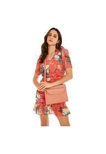 Vestido Morena Rosa Curto Decote V Zíper Lateral Laranja