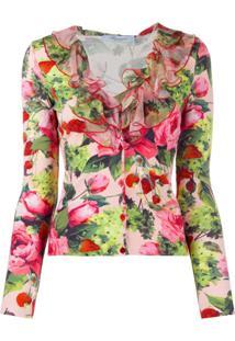 Blumarine Cardigan Com Estampa Floral E Babados - Rosa