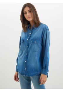 Camisa Le Lis Blanc Oversized Jeans Azul Feminina (Azul, P)
