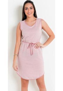 Vestido Listrado Rosa Com Barra Arredondada
